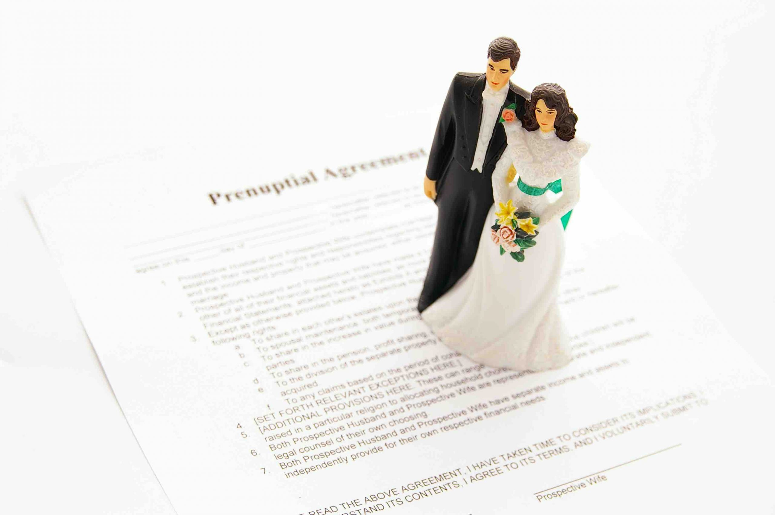 A marriage couple cartoon model standing on a prenuptial agreements