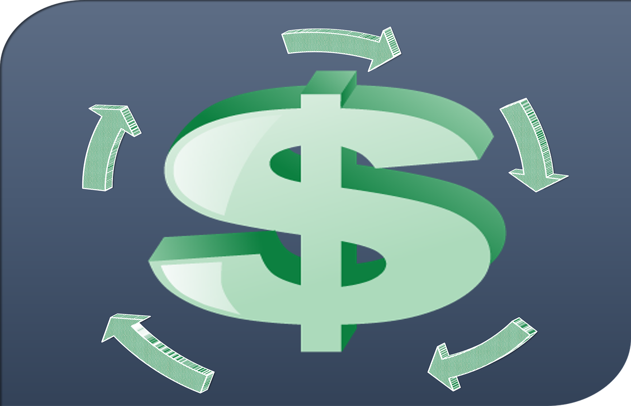 Dollar sign with flowing lines, cash flow